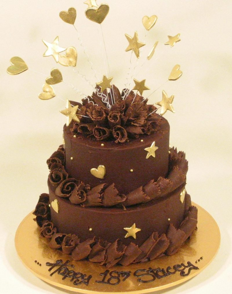 Adults Birthday Cakes 2 Tier Chocolate With Stars Description
