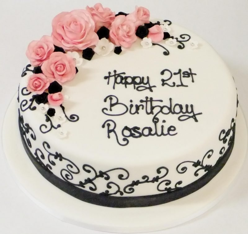 Adults Birthday Cakes Embroidery Roses Description