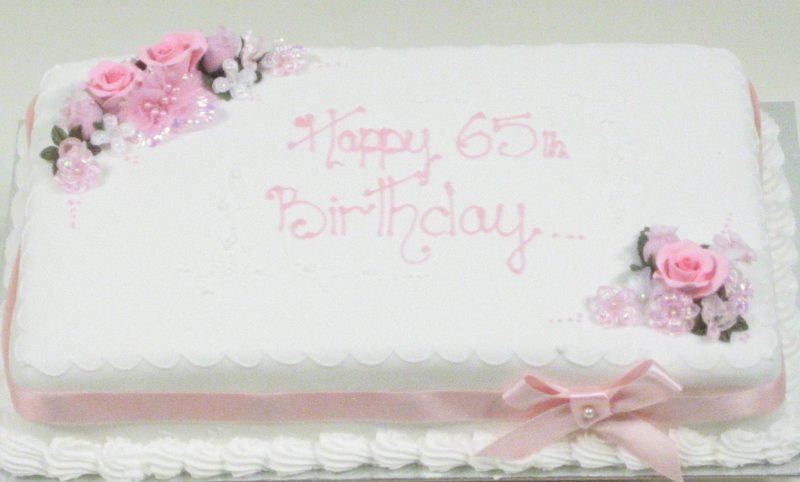 Adults Birthday Cakes Oblong With Flowers Description