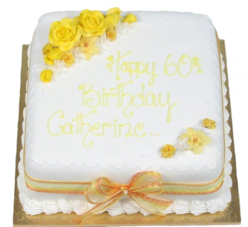 Square Cake With Yellow Flowers