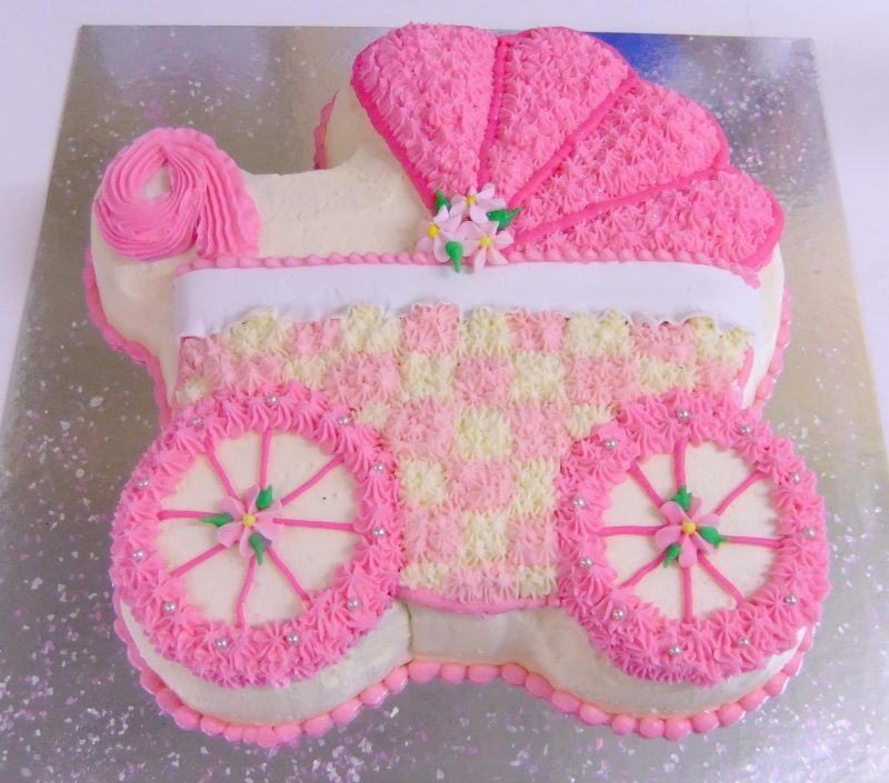 Superb Baby Buggy In Pink Birthday Cake Kidds Cakes Bakery Funny Birthday Cards Online Sheoxdamsfinfo