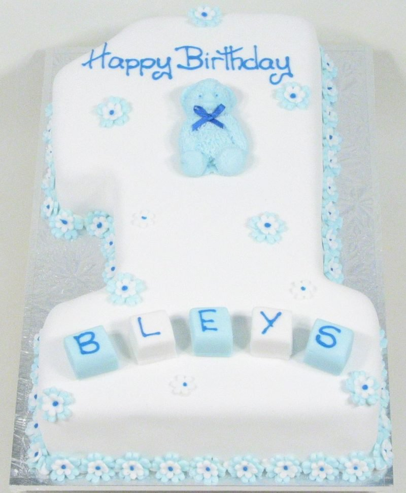 No.1 In Blue With Teddy Birthday Cake - Kidd's Cakes & Bakery