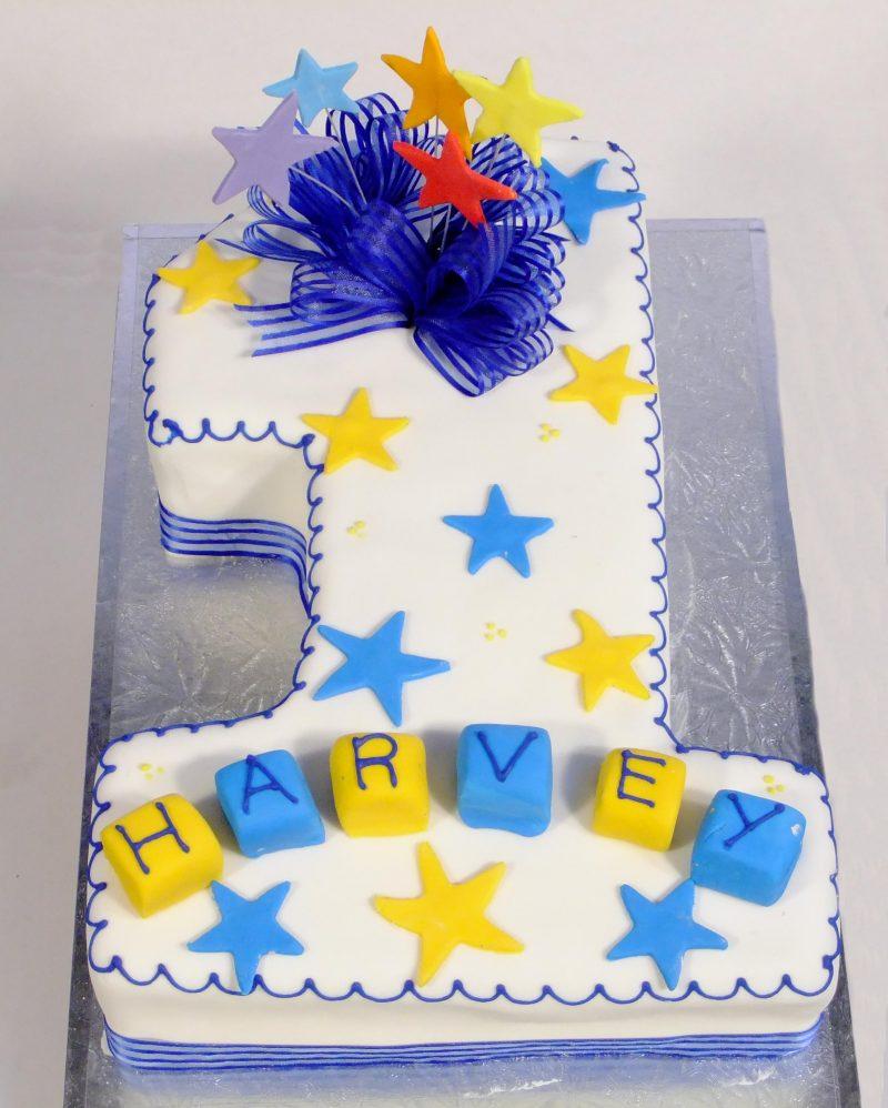 Fantastic No 1 Stars Bows Birthday Cake Kidds Cakes Bakery Personalised Birthday Cards Beptaeletsinfo