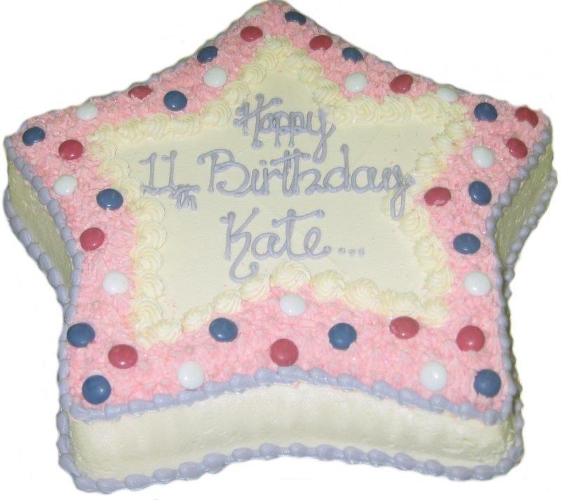 Astounding Star In Pink Birthday Cake Kidds Cakes Bakery Personalised Birthday Cards Veneteletsinfo