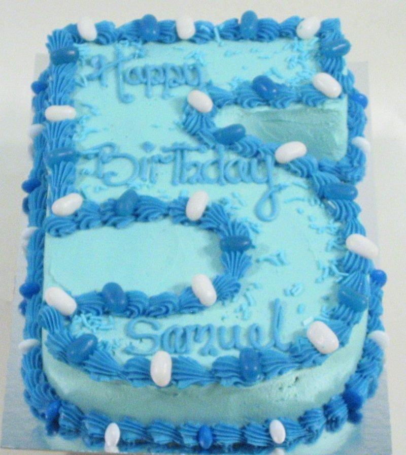 No5 In Blue Birthday Cake