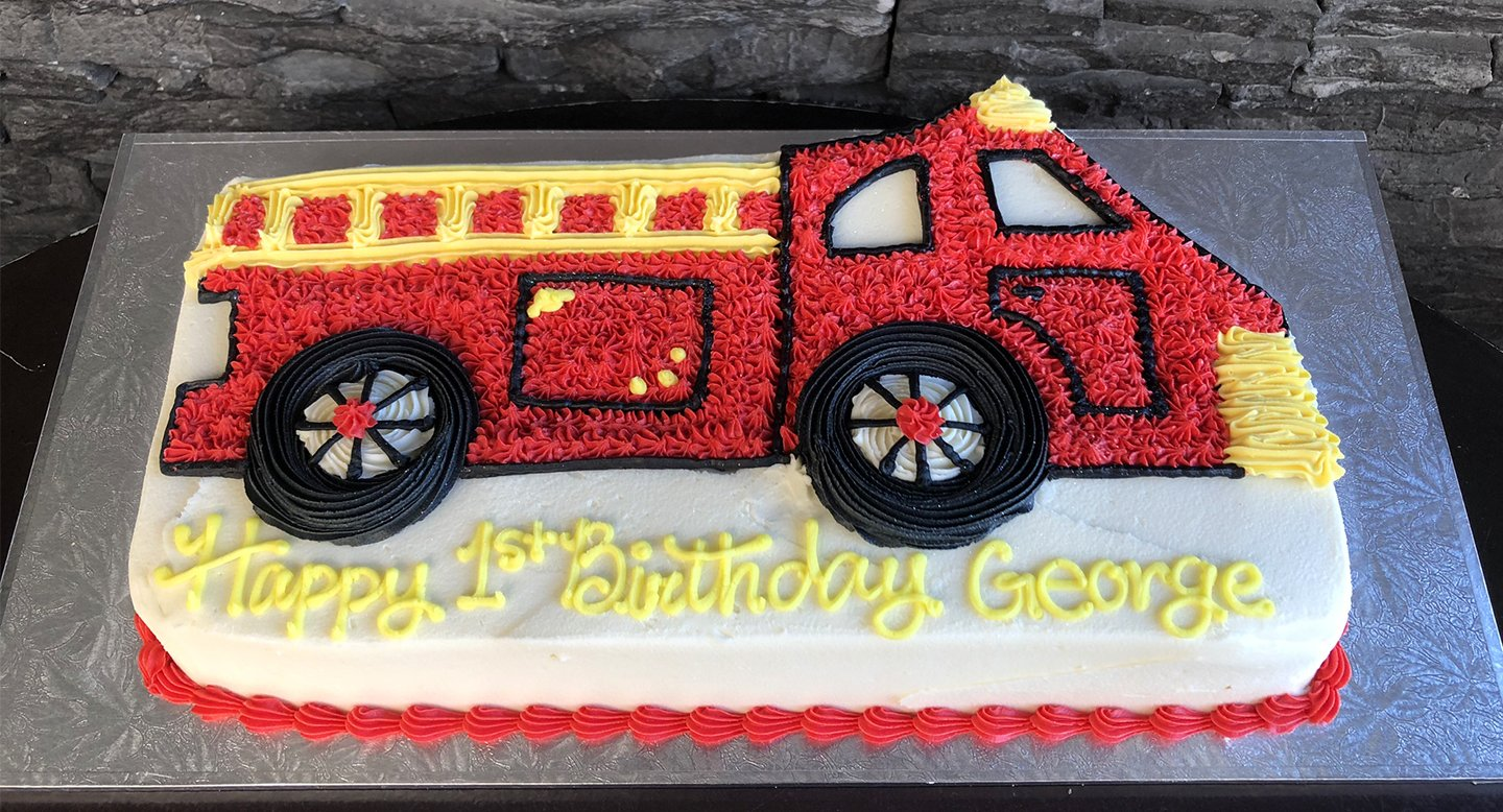 Cool Fire Engine Birthday Cake Kidds Cakes Bakery Personalised Birthday Cards Arneslily Jamesorg