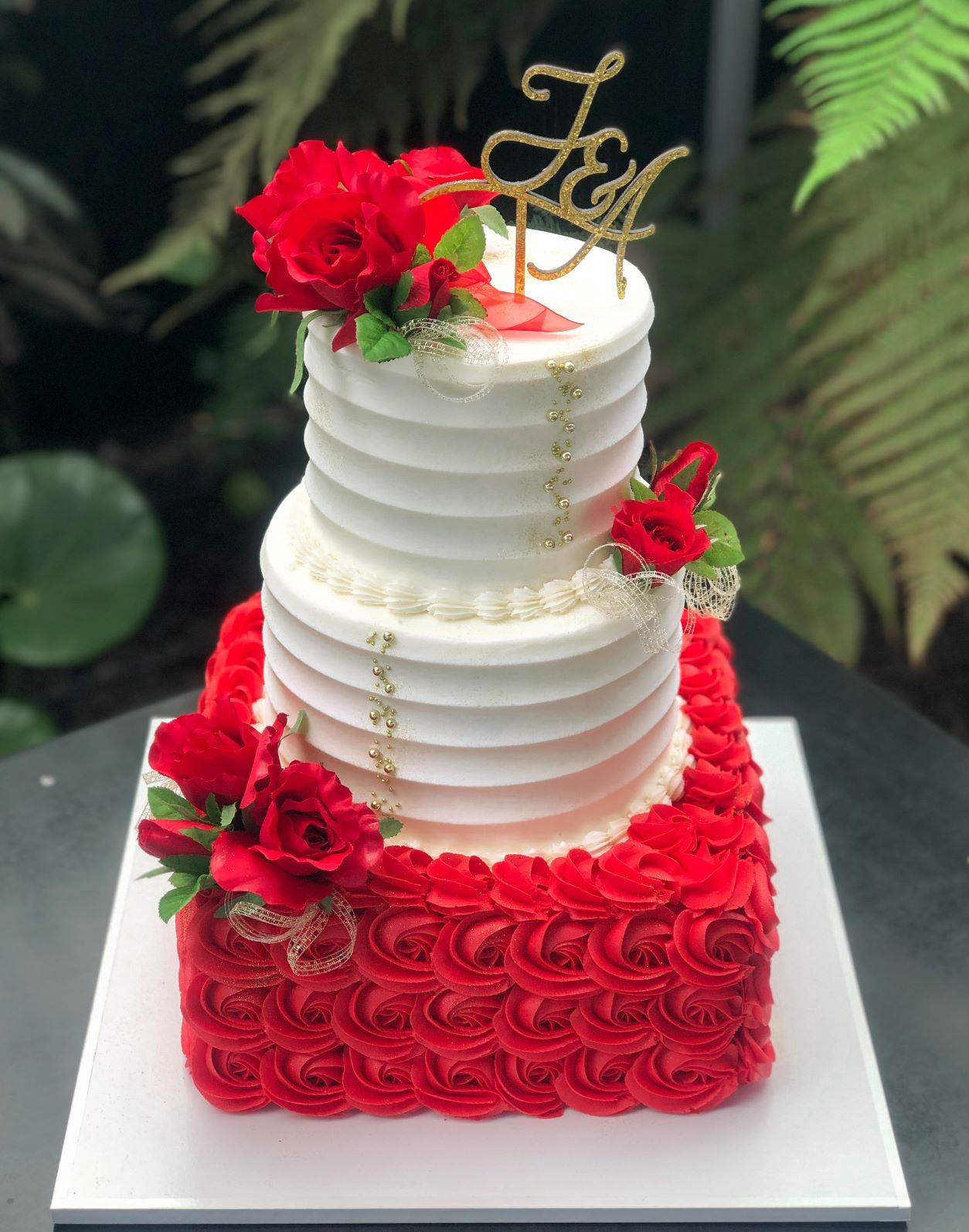 3 Tier Red Rosettes
